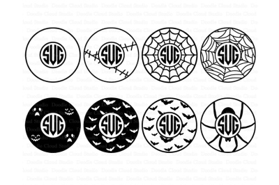 Halloween Circle Monogram Frame SVG files.