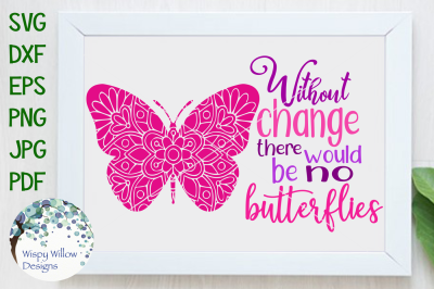 Without Change There Would Be No Butterflies SVG/DXF/EPS/PNG/JPG/PDF