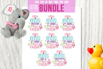 Little Miss - School Bundle - svg, eps, ai, dxf, png, jpg