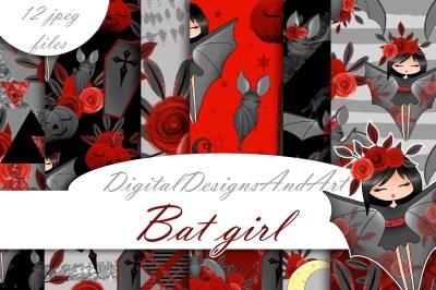 Bat girl digital paper