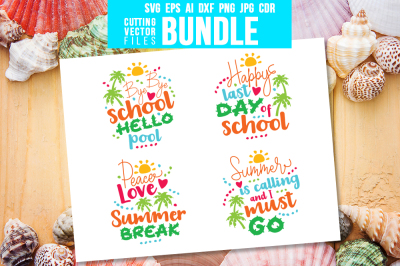 Summer Break - Bundle - svg, eps, ai, cdr, dxf, png, jpg