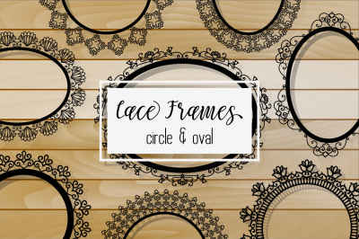 Black Lacy Round and Oval Frames