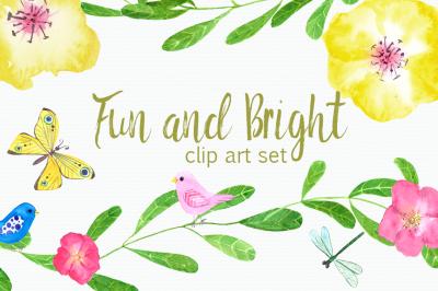 Watercolor Fun and Bright Clip Art Set