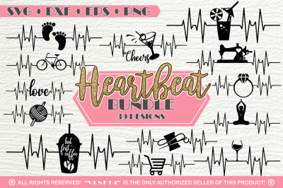 Hearbeat BUNDLE 39 Designs | SVG DXF PNG EPS Cutting File