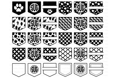 Pocket Patterns SVG, Shirt Pocket Monogram SVG files.