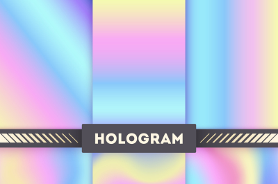 Colored hologram vector backgrounds for sticker