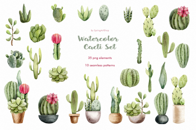 Watercolor Cacti clipart