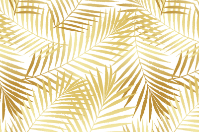 Golden summer tropical palm tree leaves seamless pattern