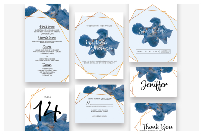 Blue Flower Wedding Invitation Suite As.4