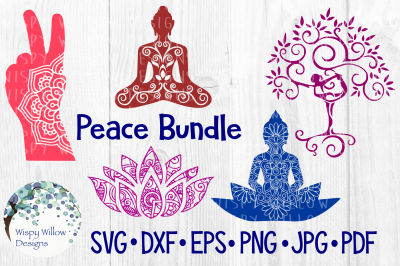 Peace Bundle, Buddha, Peace Sign, Yoga, Lotus SVG/DXF/EPS/PNG/JPG/PDF