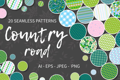 COUNTRY ROAD seamless patterns