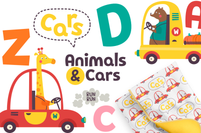 Vector set, funny animals in different cars