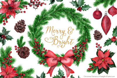 Merry & Bright Christmas Watercolor Pine Wreath & Elements