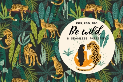 Be wild. 8 seamless patterns