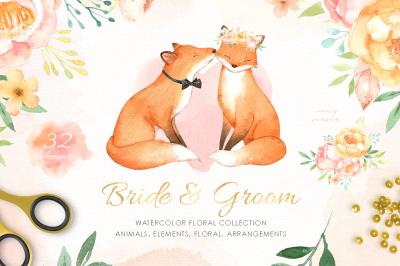 Bride & Groom Watercolor Clipart
