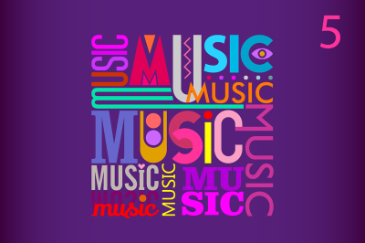 Music vector text design (5 options)