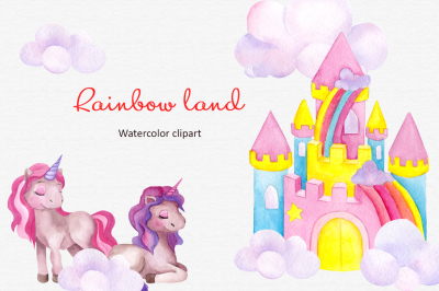 Rainbow land. Watercolor clipart