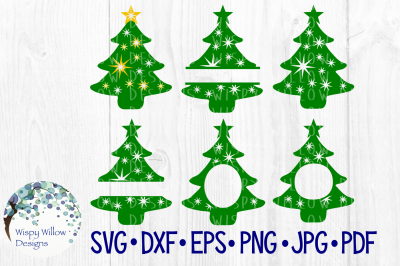 Christmas Tree Bundle, Name, Monogram, Frame SVG/DXF/EPS/PNG/JPG/PDF