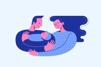 Parents embracing newborn