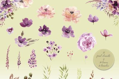Violet Watercolor floral set