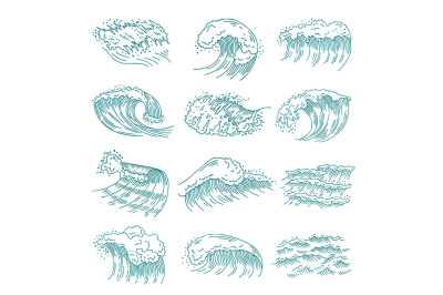 Monochrome pictures set of marine waves with different splashes