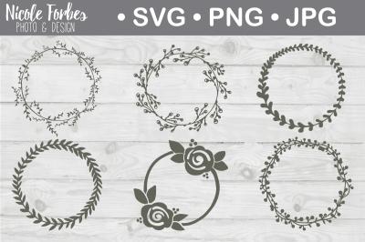 Hand Drawn Flourish Wreaths SVG Cut File