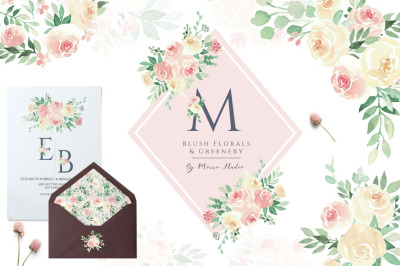 Blush Florals & Greenery Leaves