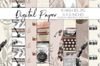 Journal Digital Paper, Watercolor Typewriter Cliparts, Scrapbooking