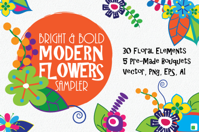 Bright and Bold Modern Flowers Sampler - 35 Clip Art Elements