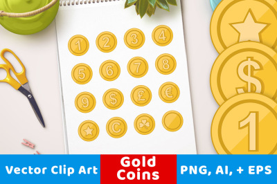 Gold Coin Clipart, Game Coins Clipart, Number Coins, Shamrock Coin