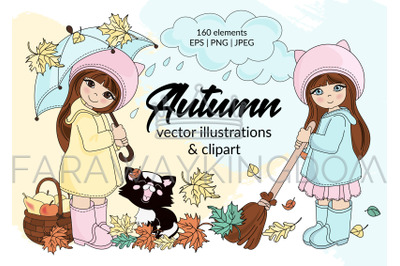 AUTUMN Season Cartoon Vector Illustration Set for Print