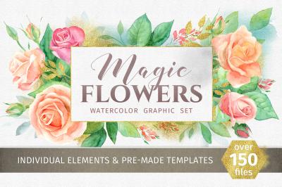 Magic flowers. Watercolor set