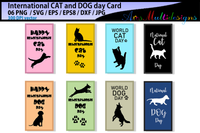 International CAT day / International DOG day / vector cards