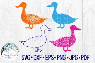 Duck Bundle, Floral Animal Mandala SVG/DXF/EPS/PNG/JPG/PDF