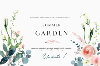 Summer garden - watercolor set