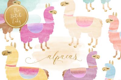 Watercolor Lama & Alpaca Clipart