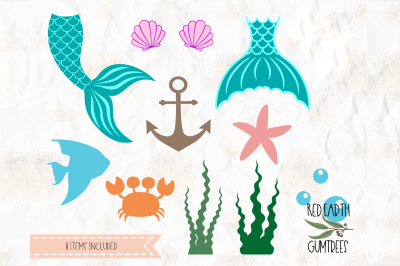 Mermaid collection SVG, PNG, EPS, DXF, PDF