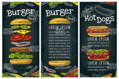 Hotdog burger engraving menu