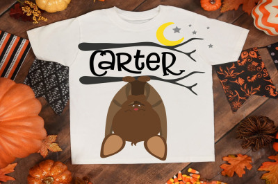 Halloween, bat, halloween shirt, bat, moon, stars, tree branch
