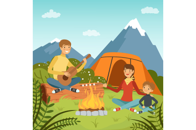Family camping in the wood near big mountains