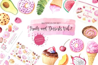 Watercolor Fruits & Desserts Vol.2