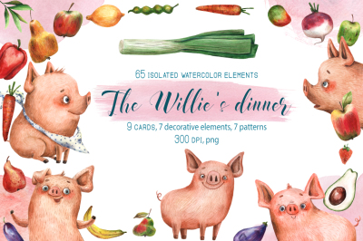 The Willie's Dinner - Watercolor Clip Art Set