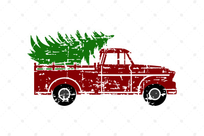 Distressed Vintage Christmas Truck SVG