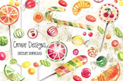 Watercolor Candy Clip Art