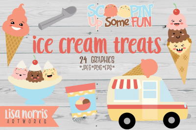 Ice Cream Treats Clip Art Graphics