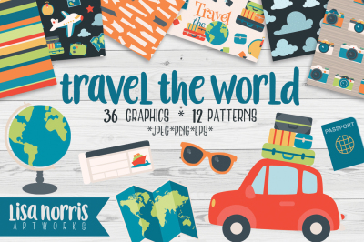 Travel the World Clip Art Graphics and Patterns