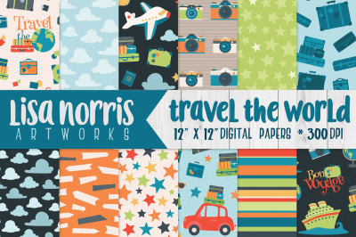 Travel the World Digital Papers