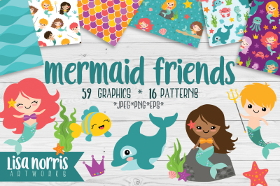 Mermaid Friends Clip Art and Patterns