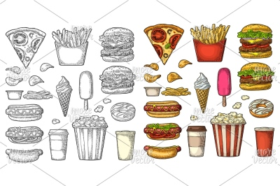 Set fast food. Vector vintage color engraving