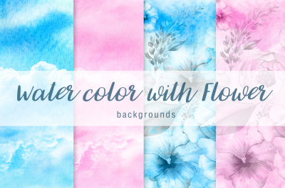 Water color with flower background Vol.1